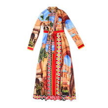 3XL Bow Collar In Beautiful landscape High Quality 2018 Fashion Runway Maxi Dress Women's Floral Print Pleated Long Dress(China)