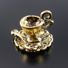 10pcs/lot Wholesale Antique Style Gold Tone Alloy Coffee Tea Cup Charms Pot Necklace Pendant Jewelry Finding Handmade AU31847