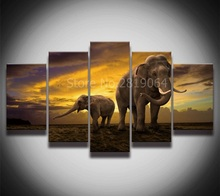 Elephant Oil Painting Printed on Canvas quadros de parede para sala Modern Art Painting by numbers No Frame