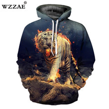 HOT 2018 New Design Burning Tiger Print 3D Hoodies Sweatshirt Fashion Men and Women Hip Hop Spring And Autumn Pullovers Hoody(China)