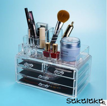 Transparent acrylic nail polish brush eyebrow pencil cosmetic tool boxes desktop accessories storage box jewelry boxes for girl(China)