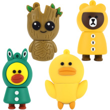 LEIZHAN USB Flash Drives 8GB Cute Animal Storage Groot/Bear/Duck/Frog Kids Gift 16gb USB Memory Stick 32GB Flash Drive 4G U Disk