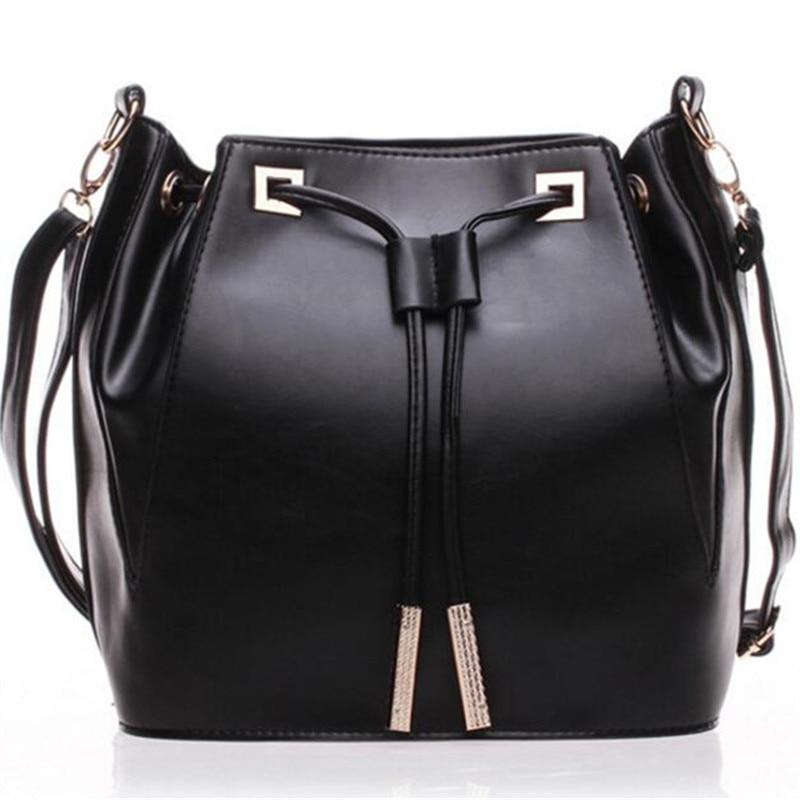 2017 NEW arrived PU leather women shoulder bag black tassel Drawstring bucket handbag big brand bag bolsa feminina bolsas<br><br>Aliexpress