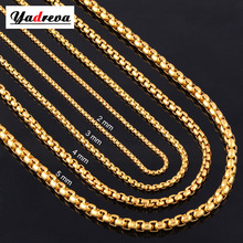 2mm/3mm/4mm/5mm Stainless Steel Gold Necklace Chain Waterproof Round Box Link Chain Men Gift Jewelry Length Customized