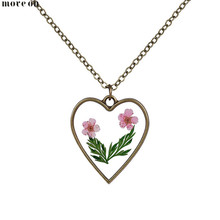 Summer Ocean Style Heart Shaped Dry Flower Necklaces Natural Choker Chain Pendant Jewelry Love Girlfriend For Wedding Gift(China)
