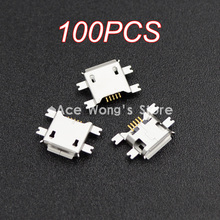 ( 100pcs/lot ) 5pin Female Micro USB Connector, SMD 4 Fixed feet, Widely used in tablet, phones and PDA(China)