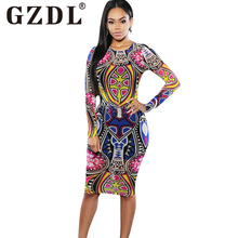 GZDL Fashion Women's Dress Bodycon Geometric Autumn Long Sleeve O Neck Multicolor Milk Silk Knee-Length Clubwear Dress CL3192