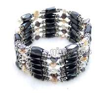 "SALE Black Hematite Magnetic Beads & natural MultiColor Pearl & Tibetan Beads 38"" Bracelet-7009 Wholesale/retail Free shipping"