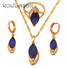 10.52g Blue Zircon crystal  Gold Tone Element Jewelry Sets Earring Necklace Ring sets Sz #9  #7 #8 JS513