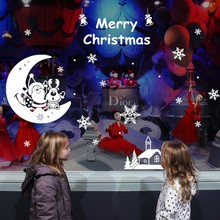 Christmas Santa Claus With Deer On The Moon Snow Bell Tree DIY Wall Stickers For Shop Display Window Living Room Background
