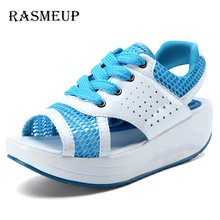 RASMEUP Womens Shoes Summer Wedges Sandals Woman Casual Shoes Breathable Lace Platform Sandalias Lady Tennis Open Toe Slimming