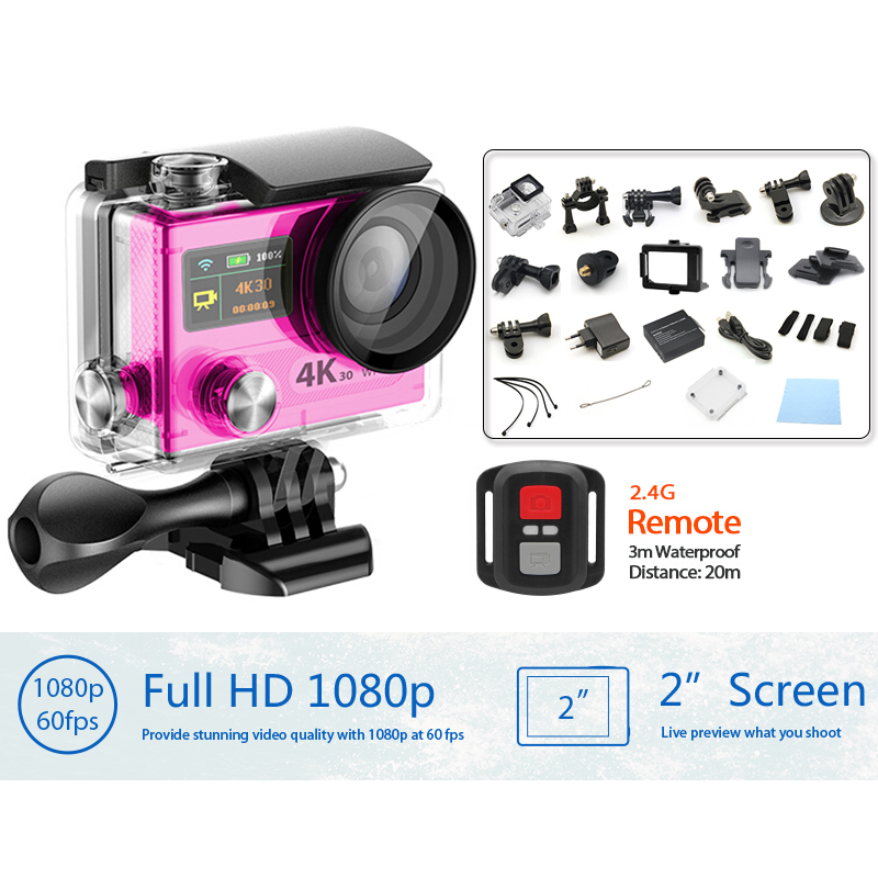 4K WiFi Action camera 1080p full HD 2.0 Dual Screen Helmet Cam  2.4G remote control go pro style sports camera H8R VS SJ5000<br><br>Aliexpress
