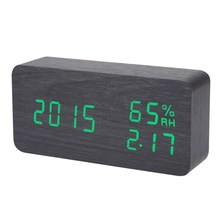 Digital LED Alarm Clock Sound Voice Control Light Digital LED Time Humidity Display Wooden Alarm Clock Electronic Clocks Desk