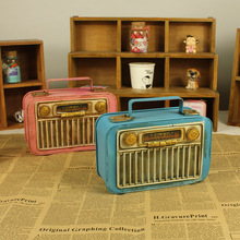 Vintage home decoration iron metal craft Hand Made radio shape Birthday gift colors random free shipping