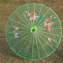 20pcs/lot 9 Colors Available Chinese Long-straight Transparent Silk Yarn Floral Craft Umbrellas Fancy Dance Parasols ZA4250(China)