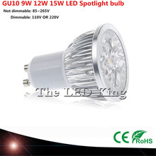 Super Bright 9W 12W 15W GU 10 LED Spotlight 110V 220V Led Lamp Light Warm White/ Cold White dimmable GU10 Base Lampada LED Bulbs(China)