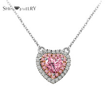 Brand Jewelry!SHIPEI 2017 Pink Heart Pendant Necklace in Plated White Gold with AAA Crystal,Carat Total Weight 1.88