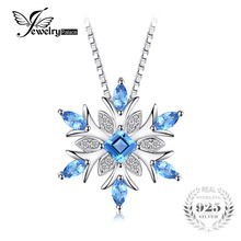 JewelryPalace Snowflake Genuine Swis Blue Topaz Solid 925 Sterling Silver Pendant Fine Jewelry for women Not Include the Chain(China)