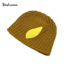 2017 New Fashion Autumn Quality Acrylic Hat hand-made Students Leaf pattern Knitted Hat For Women/Ladies(China)