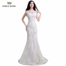 NOBLE WEISS In Stock O-Neck Appliques Beading Zipper Back Mermaid Sweep Train Wedding Dresses Lace Bridal Dress