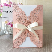 100Psc/Lot laser cut 250gsm Shimmer Paper Craft lace party birthday dinner Wedding Invitations Cards greeting wishing well card