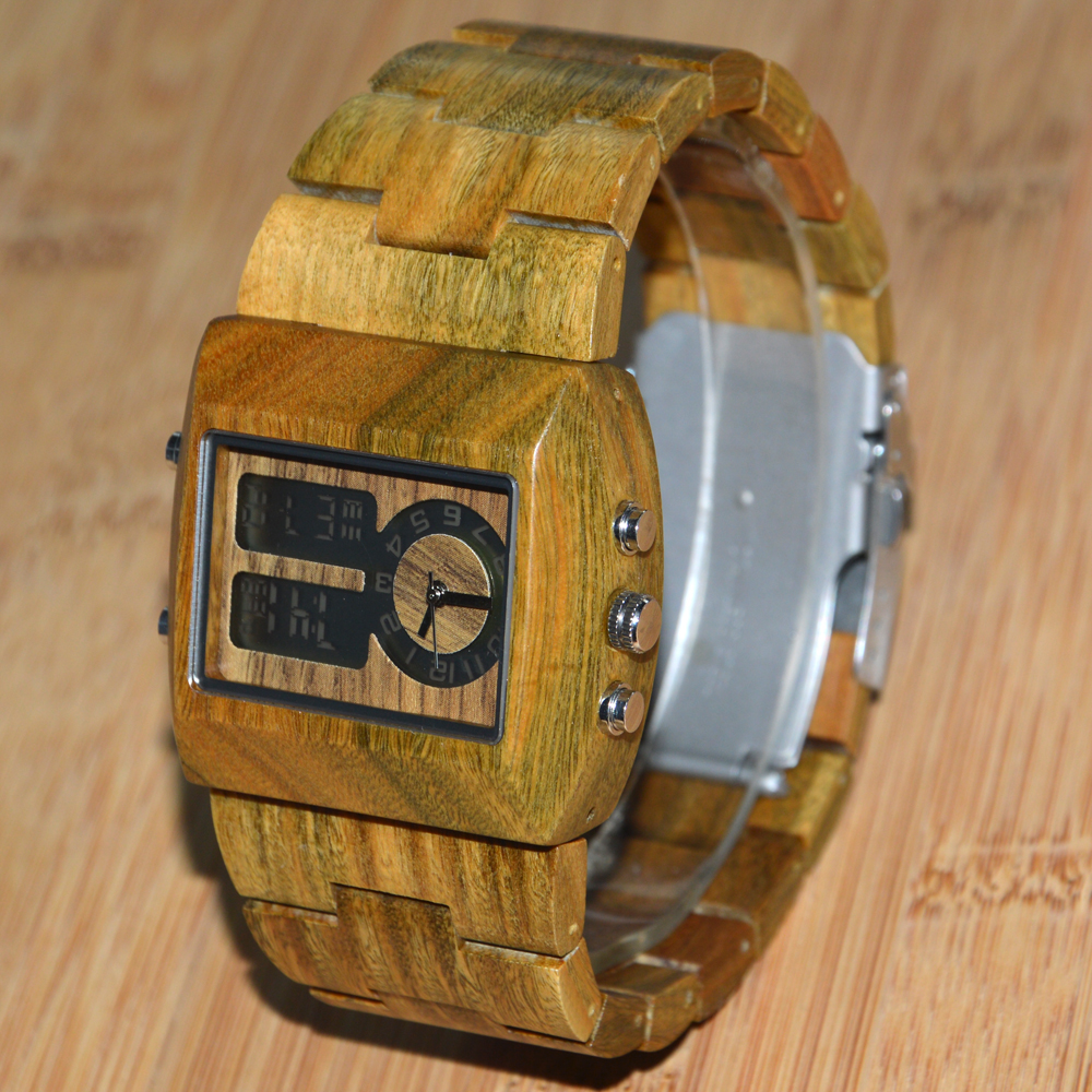 BEWELL 021A Wood Men Square Quartz Business Watch Luxury Brand with Double Movement Luminous Display <br><br>Aliexpress