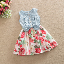 Retail LOWEST PRICE Lovely Hot Kid Girls Jean Denim Bow Flower Ruffled Dress Sundress Clothing Costume Free Shipping 2-7T