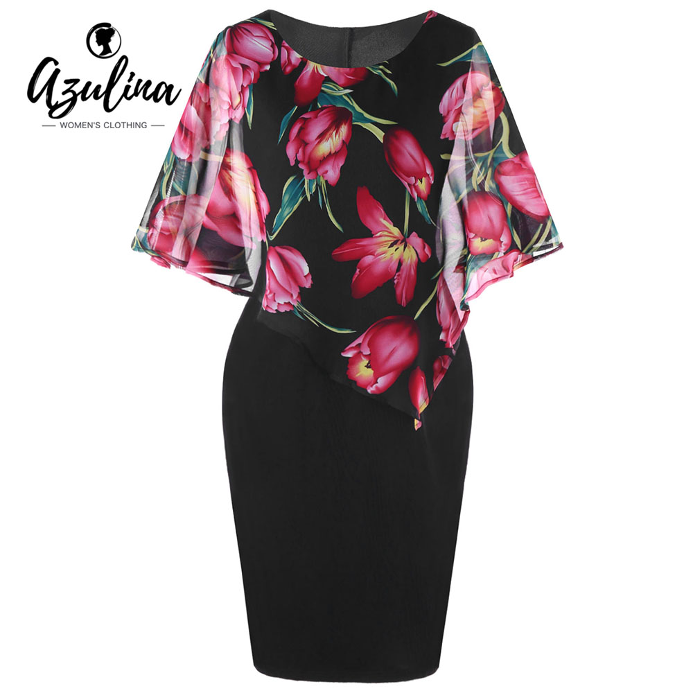 AZULINA Plus Size Floral Capelet Dress Women Dresses Summer Bodycon Dress Party Vestlidos