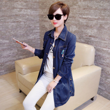 Women Denim Jacket Coat Long Coat Stamp Denim Clothing Ladies Slim Trench Femme Casual Duster Coats Plus Size 5XL(China)