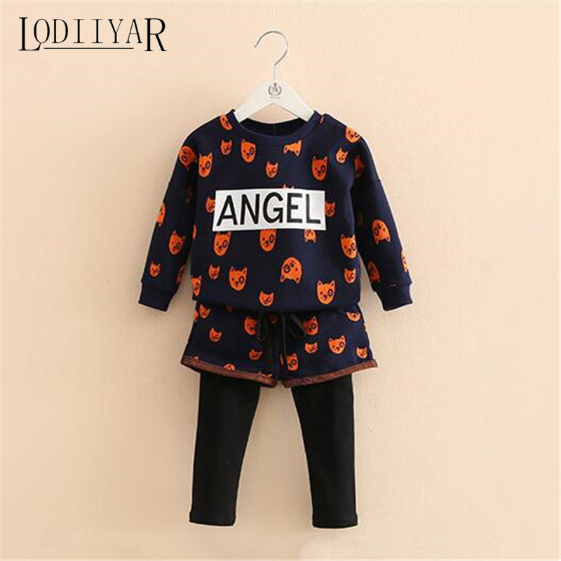 Printed Puppy Letters Angel Children Sports Clothing Set Top + Pants Autumn Winter Toddler Girls Casual Warm Outerwear <br><br>Aliexpress
