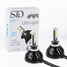 S&D 880 881 H27 48W 4800LM LED Headlight Conversion Kit Auto COB DRL Bulbs Fog Lights 6000K White Replacement Hid Lamps D050