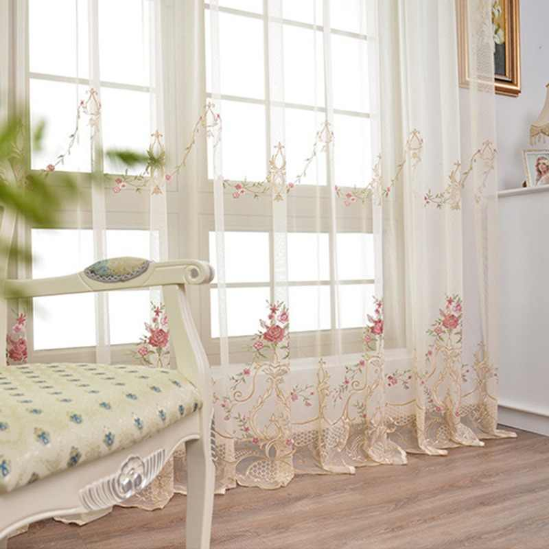 High-grade Pink Embroidery Flower Screens European Style Voile Tulle Sheer Bedroom Living Room Windows Curtain Curtains 304*40