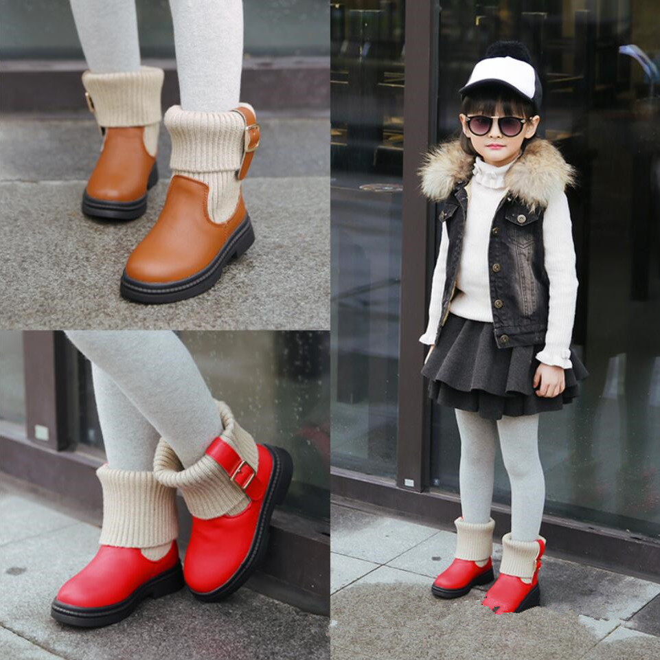 2017 Winter New Real Leather Girl Boys Boots Korean Children Boots Childrens Shoes Stretch  Wool Knitting Warm Martin Kids   <br><br>Aliexpress