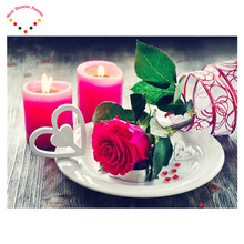 5d Diy diamond drawing full embroidery decoration painting diamond cross stitch crystal round diamond sets The candle red roses(China)