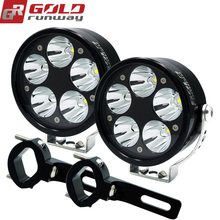 GOLDRUNWAY 50X Motorcycle Headlight 50W USA LED Chip U3 12V Driving Light fog lamp Head Lamp with Engine Guard Mount Clamps(China)