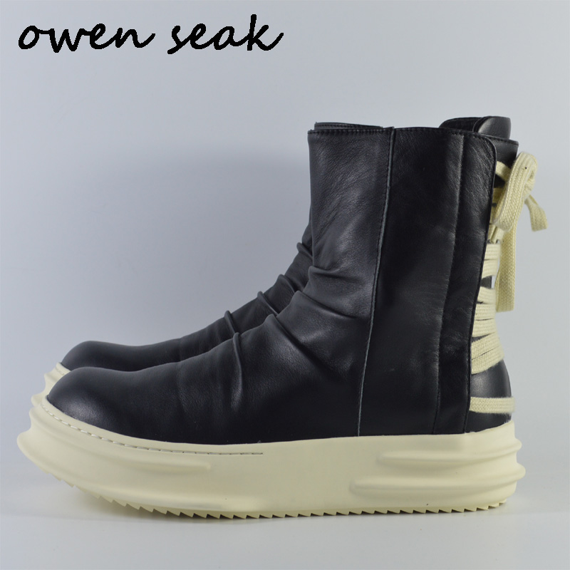 2018 New Owen Seak Women Shoes High-TOP Ankle Boots Genuine Leather Sneaker Luxury Trainers Casual Lace-up Zip Flat Black Shoes