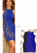 2017 summer new bandage dress stretch tight nightclub ladies birthday party dinner fashion sexy hip bead rivets black blue