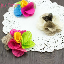 12pcs Handmade Colorful Hessian Jute Flower Rustic Wedding Decoration for Party Favor Gift Bag Centerpiece DIY Craft Accessory