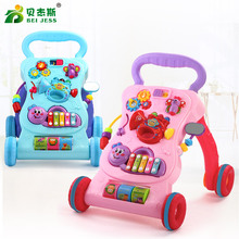 BEI JESS indoor Multifunction Baby Ride on car trolleys with Musical board toys Learn to Newborns growing up Walk Carts