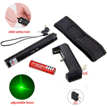 Powerful 5MW Red Green Purple Lazer Pen Light Military Adjustable Focus Laser Pointer with 18650 Battery Charger(China)