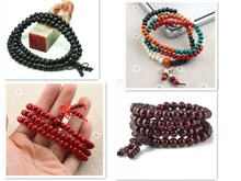 Ubeauty wholesale 6mm108 natural red sandalwood bead bracelet  Tibetan Buddhist prayer japa rosary mala Meditation necklace