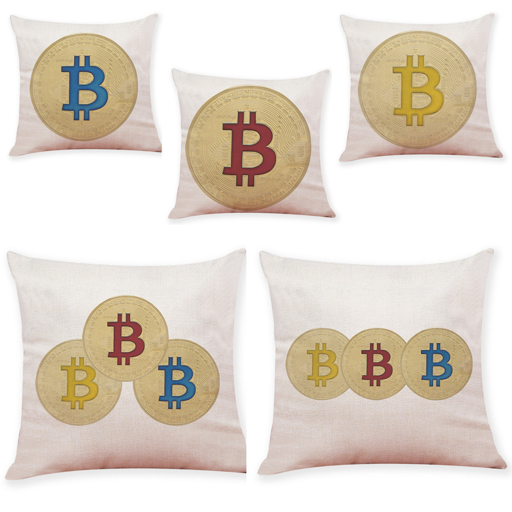 New Design Bitcoin Coins Linen Throw Pillow Case Print Decorative Pillows Sofa Seat Cushion Cover Home Decor 45cm*45cm