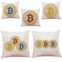 Buy New Design Bitcoin Coins Linen Throw Pillow Case Print Decorative Pillows Sofa Seat Cushion Cover Home Decor 45cm*45cm for $2.64 in AliExpress store