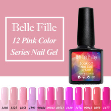 Belle Fille 10ml Red Pink Nail Gel Polish Pigment Colour UV Soak Off Rainbow Colors Nails Art Decoration Makeup Party Wedding(China)