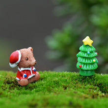 Christmas Tree Bear Animal Miniature Fairy Garden Home Houses Decoration Mini Craft Micro Landscaping Decor DIY Accessories