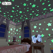 TIE LER 95pcs/lot 3D Stars Glow In Dark Luminous Fluorescent Plastic Wall Sticker Home Decor for Kids Rooms