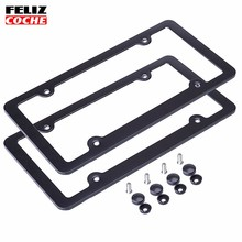 2Pcs/Lot US Standard 4 holes Car License Plate Frame Aluminum Alloy with Screw Caps Car styling for America Canada Mexico A2127