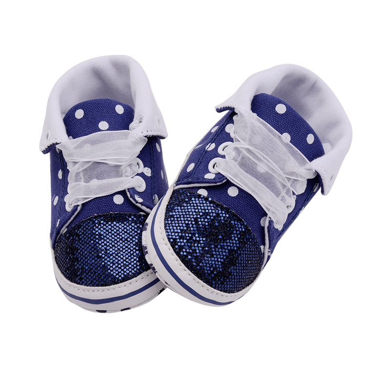 Infant Newborn Baby Girls Boy Glitter Polka Dots Autumn Lace-Up First Walkers Sneakers Shoes Adorable RibbonToddler Canvas Shoes 26