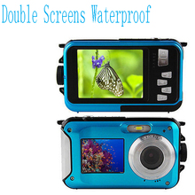 Max 18MP Double Screens Waterproof Digital Camera US/EU/UK Plug 2.7 inch +1.8 inch Screens HD CMOS 16x Blue Camcorder waterproof