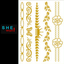 2017 1pcs New Pro Metallic Flash Jewelry Temporary Tattoo Stickers Sexy Body Art Waterproof Fashion Gold Decal Hair Tattooing